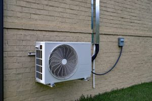 Ductless mini-split compressor outside of Southern PA home.